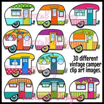 350x350 Vintage Camper Clip Art, Retro Camper Clipart By Rebeccab Designs
