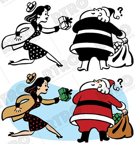 472x504 A Woman Rushes To Give Santa Claus A Last Minute Christmas Gift