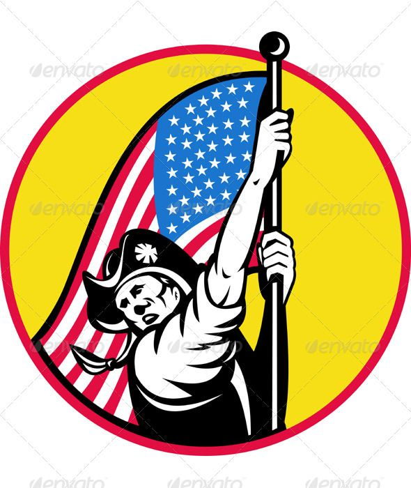 590x700 American Minuteman Revolution Militia With Flag Revolution