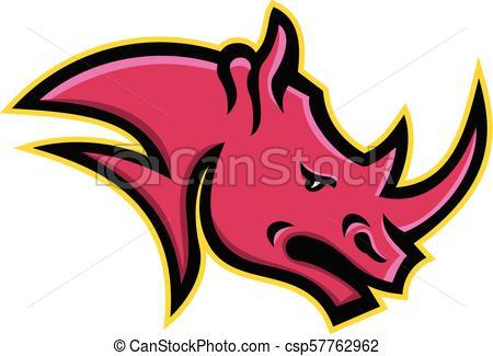 450x325 Rhino Head Side Mascot. Mascot Icon Illustration Head