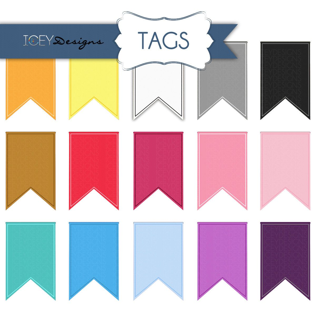 1200x1200 Digital Scrapbooking Textured Journal Tags, Flags, Ribbon Clipart
