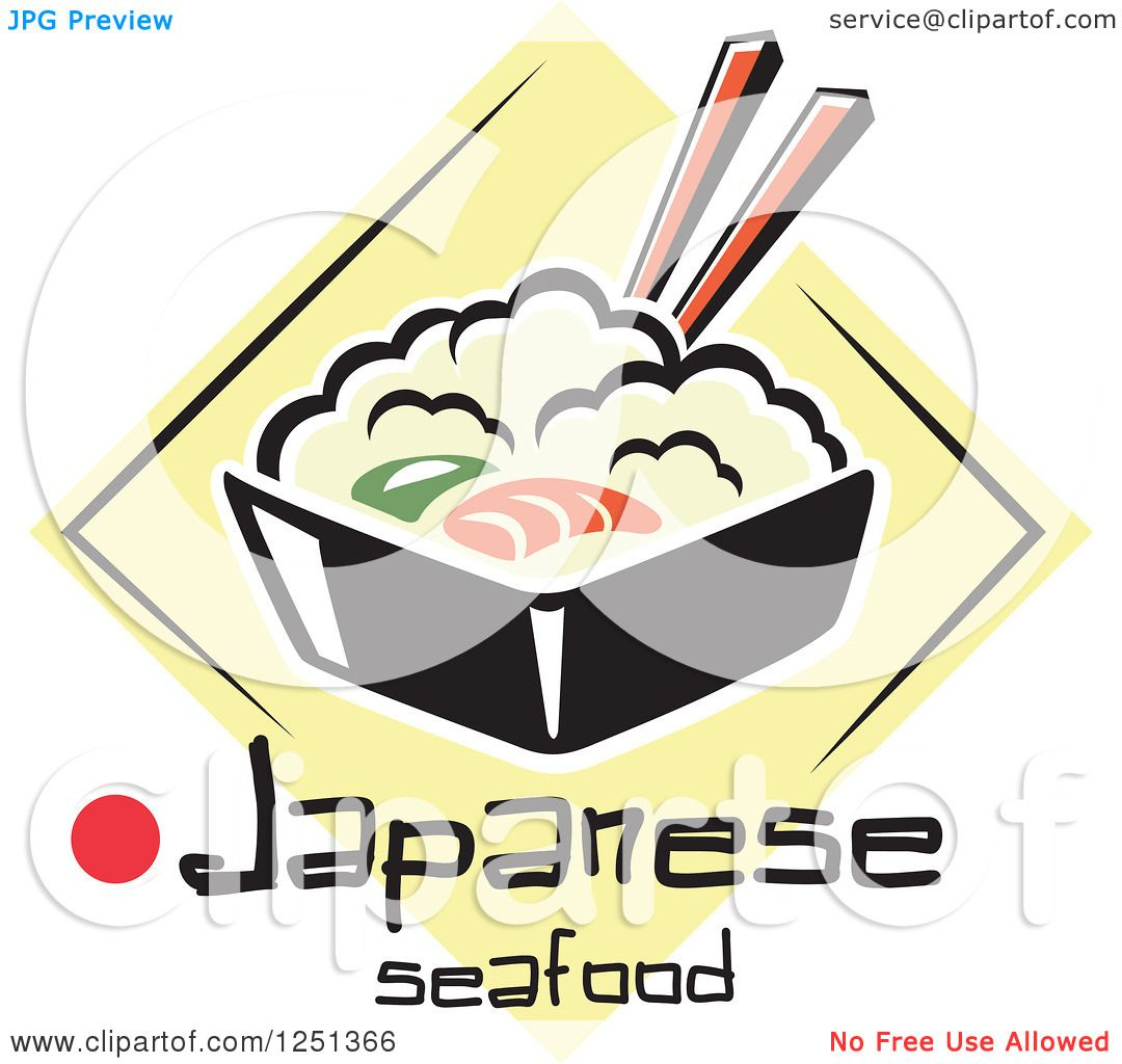 1080x1024 Clipart Of A Bowl Of Rice With Japanese Seafood Text
