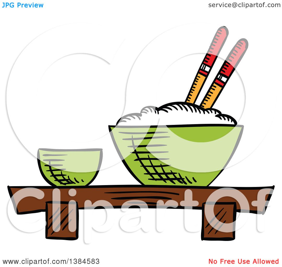 1080x1024 Clipart Of A Sketched Bowl Of Rice