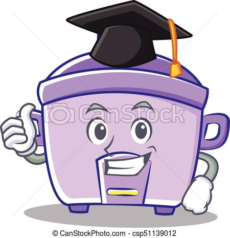 450x465 Graduation Rice Cooker Character Cartoon Vector Illustration