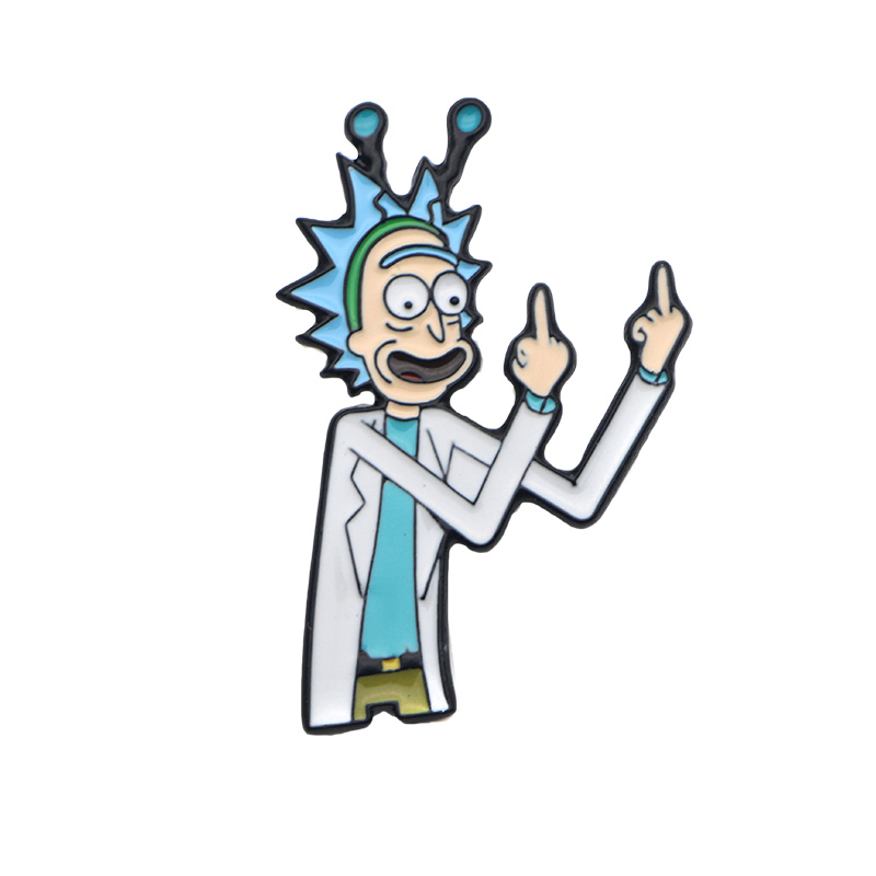800x800 Rick And Morty Animated Tv Series Rick Flipping Off Metal Enamel