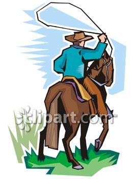263x350 Cowboy Riding A Horse And Throwing A Lasso Clipart Illustration