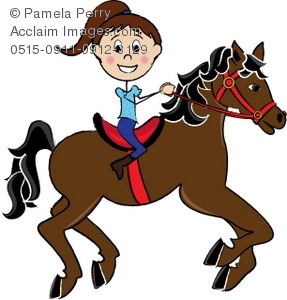 287x300 Clip Art Illustration Of A Girl Riding A Galloping Horse