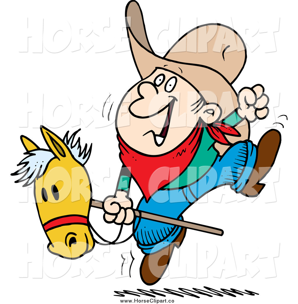 1024x1044 Clip Art Of A Cartoon White Boy Riding A Stick Pony By Toonaday