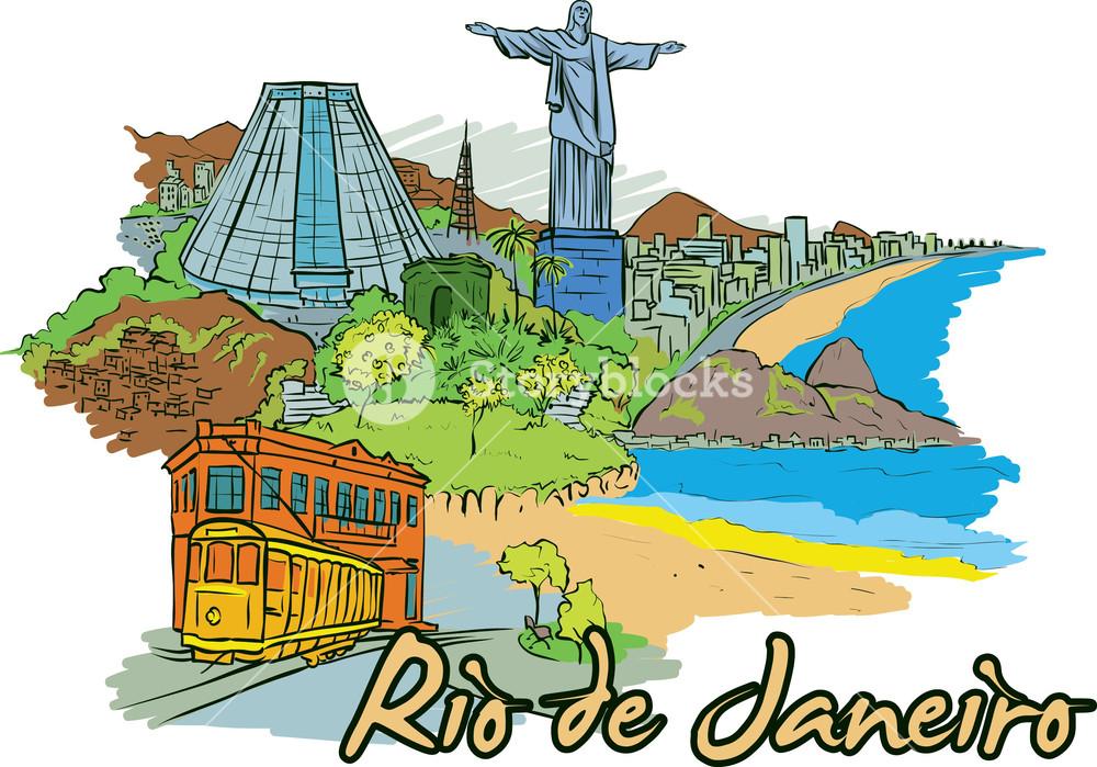 1000x699 Rio De Janeiro Vector Doodle Royalty Free Stock Image