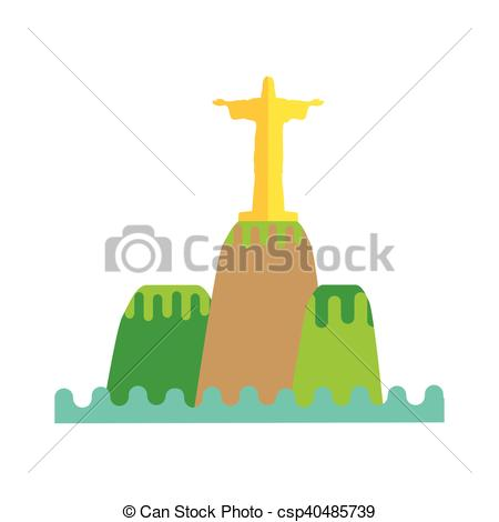 450x470 Rio De Janeiro Flat Background Vector Illustration. Brazil