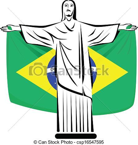447x470 Rio De Janeiro Symbol. Christ The Redeemer Holding Brazilian