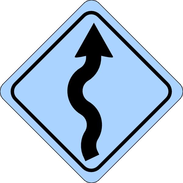 600x600 Blue Curvy Road Ahead Sign Clip Art