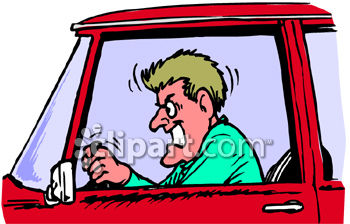 350x224 An Angry Man With Road Rage Clip Art Illustration