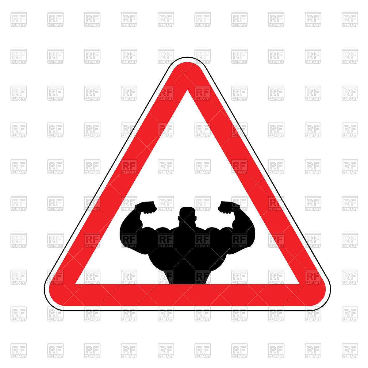 1200x1200 Attention Bodybuilding Red Triangle Road Sign Royalty Free Vector