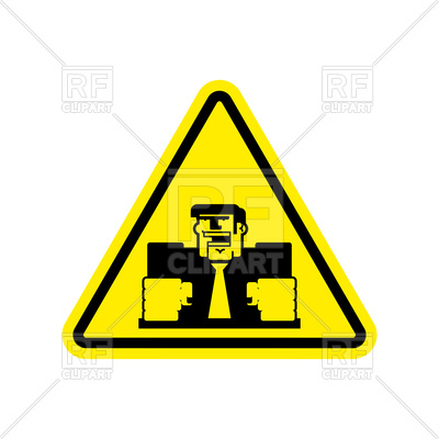 400x400 Attention Triangular Road Sign With Angry Boss Royalty Free Vector