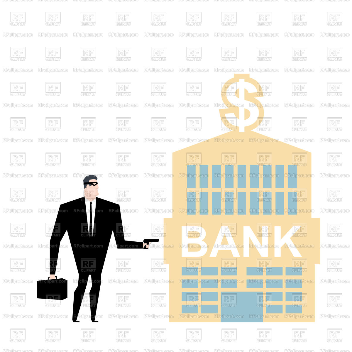 1200x1200 Bank Robbery. Robber And Bank Building. Royalty Free Vector Clip