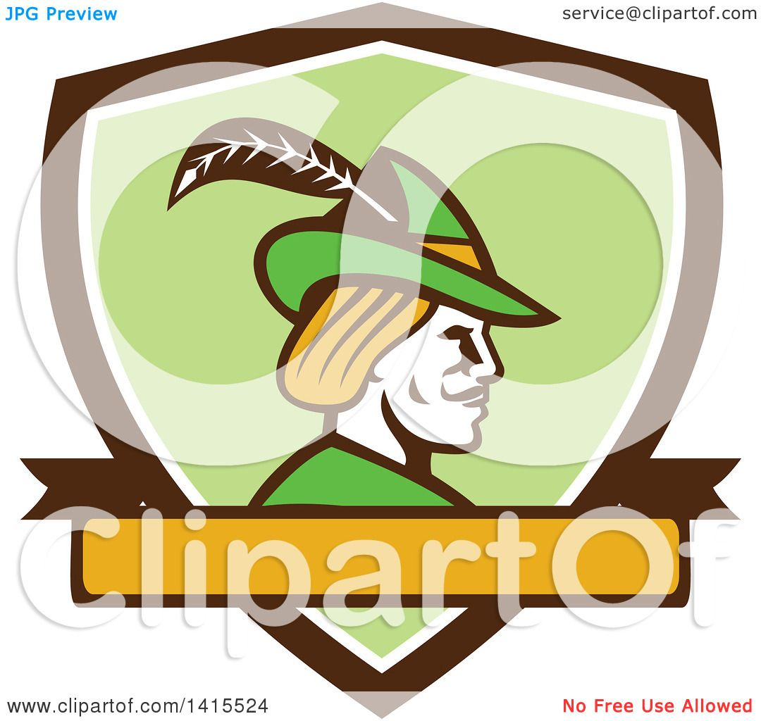 1080x1024 Clipart Of Retro Profile Of Robin Hood Wearing Plumed Hat In