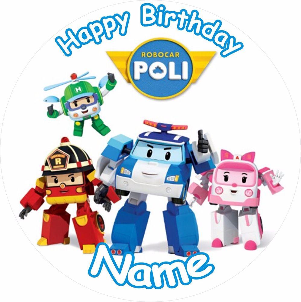 997x1000 Robocar Poli Birthday 8 Icing Cake Topper Ebay