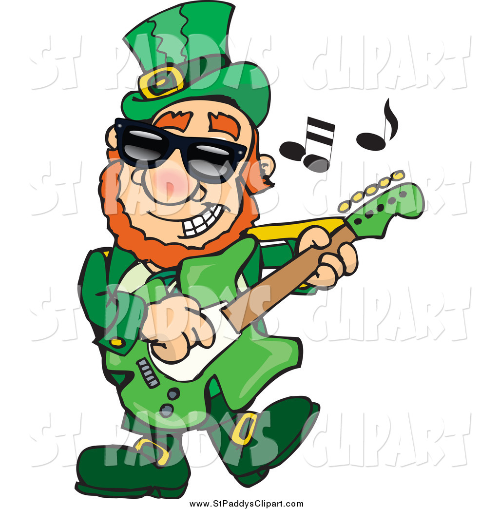 1024x1044 Vector Clip Art Of A St Paddys Day Leprechaun Playing Rock