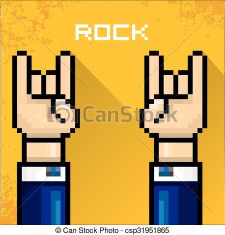 450x470 Vector Pixel Art Hand Sign Rock N Roll Music. Vector Flat