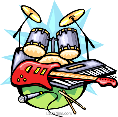 480x475 Rock N' Roll Musical Instruments Royalty Free Vector Clip Art