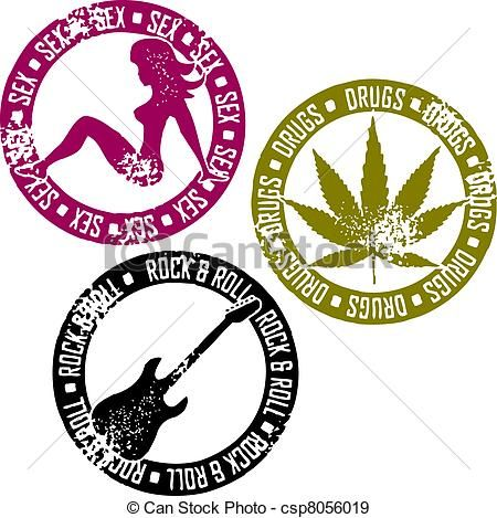450x469 Sex Drugs And Rock And Roll Rubber Stamp Style Graphics, Sex