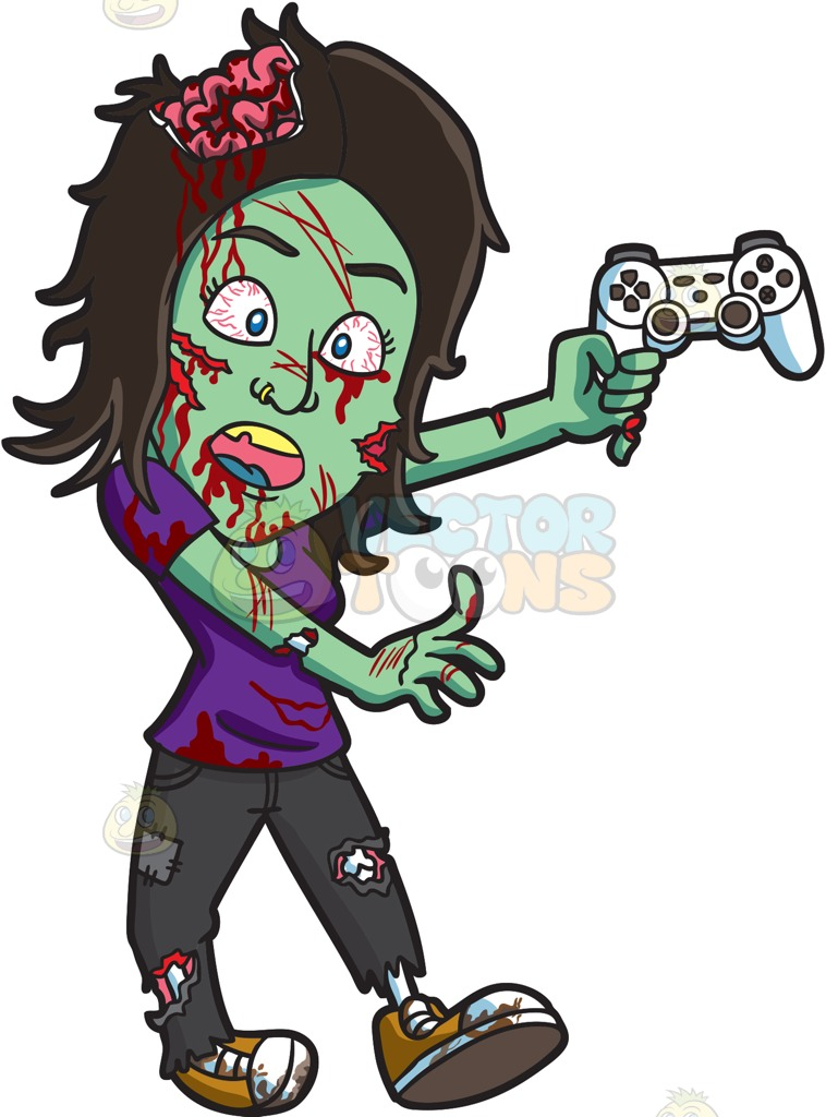 758x1024 A Zombie Playing A Video Game Cartoon Clipart Vector Toons