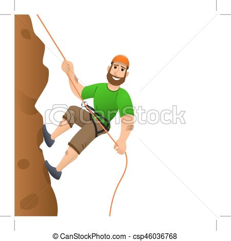 450x470 Rock Climber. Man Commits To Rise The Steep Slope. Cartoon Clip