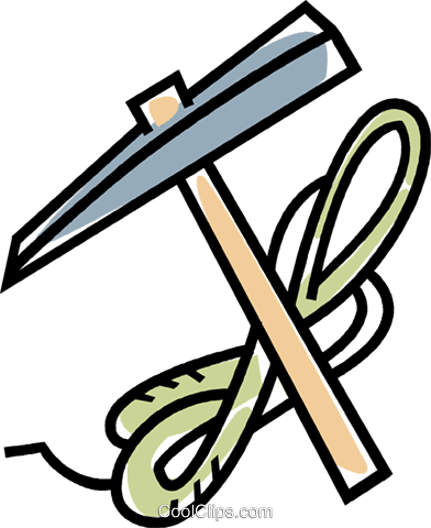 392x480 Climbing Pick Axe And Rope Royalty Free Vector Clip Art
