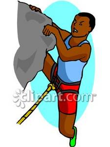 225x300 African American Man Rock Climbing Clipart Picture