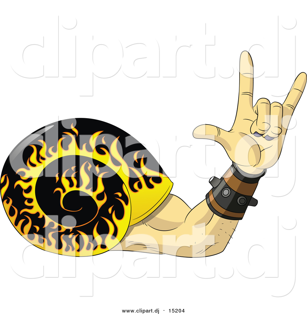 1024x1044 Vector Clipart Of A Rock And Roll Hand Snail With A Flaming Shell