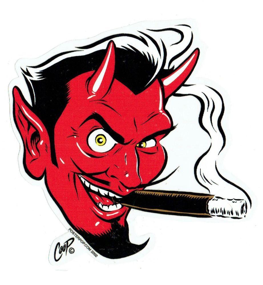 922x1000 Coop Sticker Decal Devil Satan Head Kustom Kulture Hot Rod Poster