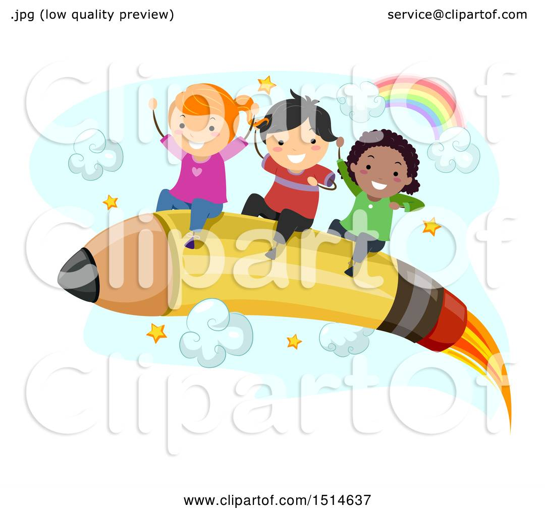 1080x1024 Clipart Of A Group Of Children Riding A Pencil Rocket