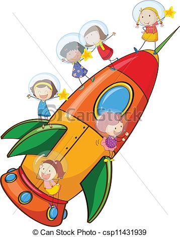 358x470 Illustration Of A Kids On Rocket On White Background Vectors