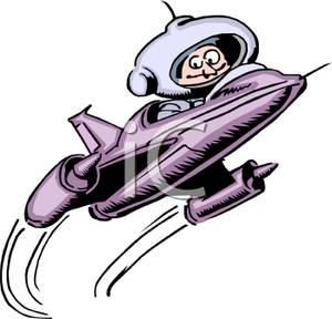 300x288 Clip Art Image An Astronaut In A Purple Rocket Ship