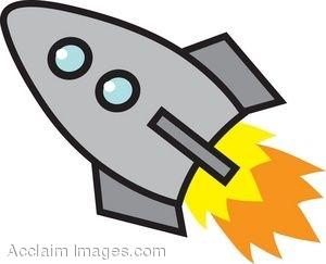 300x243 Clip Art Of A Cartoon Rocket