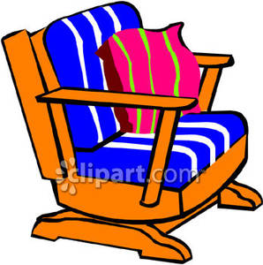 298x300 A Rocking Chair With Blue And Pink Cushions