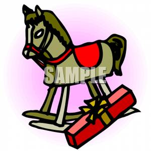 300x300 Free Clipart Image A Wrapped Present Next To A Rocking Horse