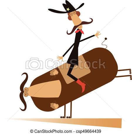 450x458 Rodeo, Man And Bull Isolated. Man Or Cowboy With Long Vectors