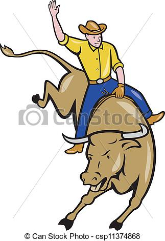 323x470 Rodeo Cowboy Bull Riding Cartoon. Illustration Of Rodeo Clip