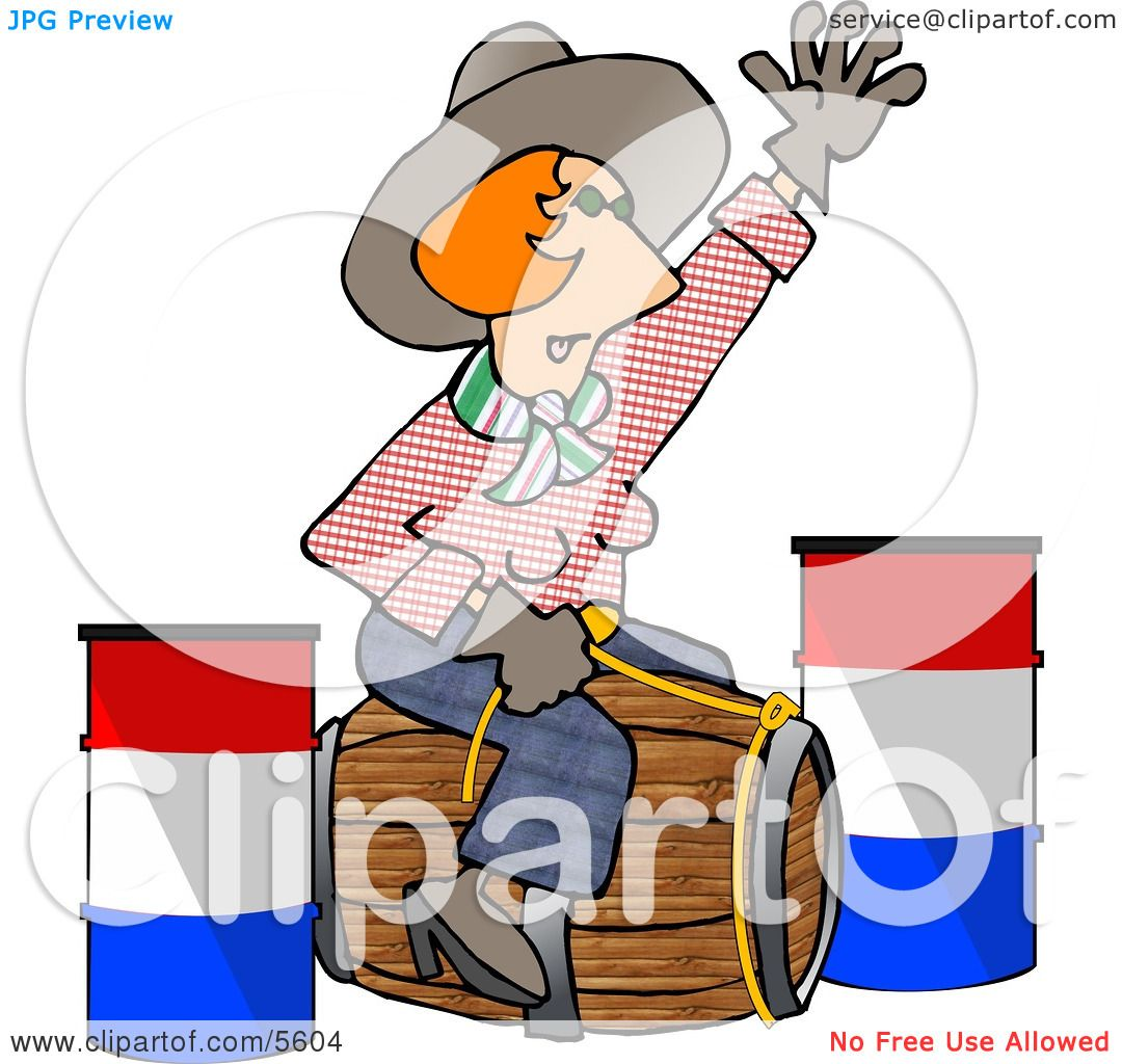 1080x1024 Professional Rodeo Cowgirl Riding A Wooden Barrel Clipart
