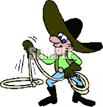 336x350 Cartoon Cowboy Twirling A Lasso