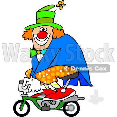 400x400 Cartoon Of A Circus Clown Riding A Mini Bike