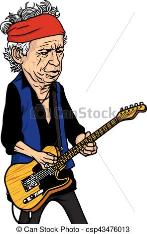 295x470 Keith Richards Of The Rolling Stones Black And White Cartoon