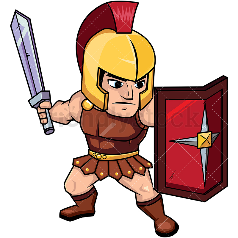 800x800 Roman Soldier On Guard With Shield Cartoon Vector Clipart