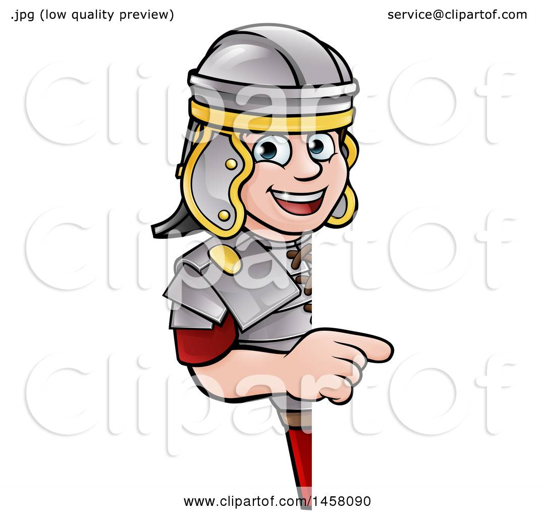 1080x1024 Clipart Of A Cartoon Happy Roman Soldier Pointing Around A Sign