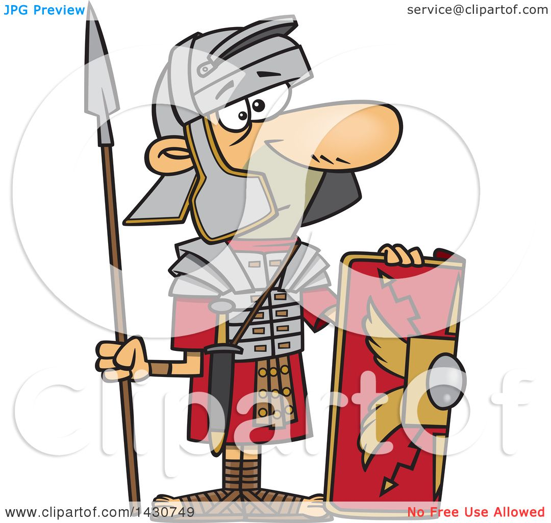 1080x1024 Clipart Of A Cartoon Roman Soldier With A Shield And Spear
