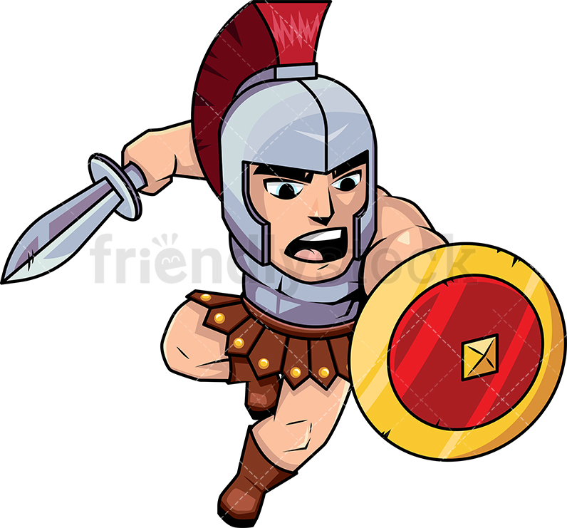 796x741 Roman Soldier Attacking With Sword Cartoon Vector Clipart
