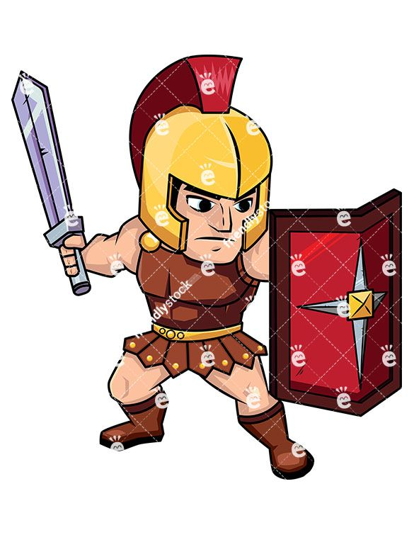 585x755 Roman Soldier On Guard With Shield Vector Cartoon Clipart