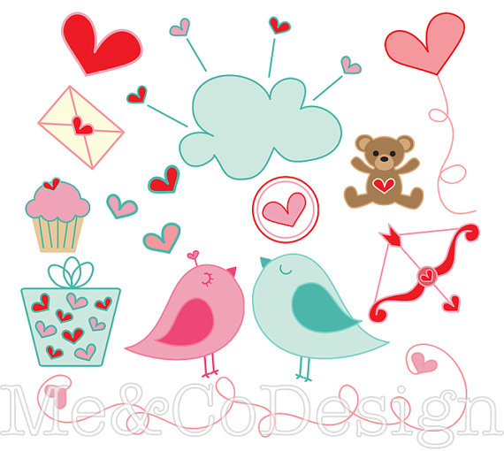 570x510 Lovey Dovey Clipart, Fun Cute Clipart, Romantic, Instant Download